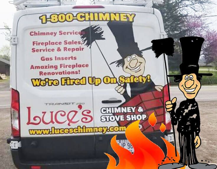 Luce's Chimney & Stove Shop chimney services, chimney repair trucks.