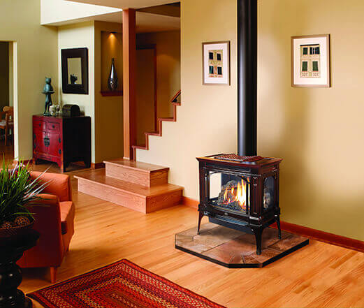Gas stoves store, gas heating stoves on display, at Luce's Chimney & Stove Shop, serving areas of Ohio, Michigan & Indiana.