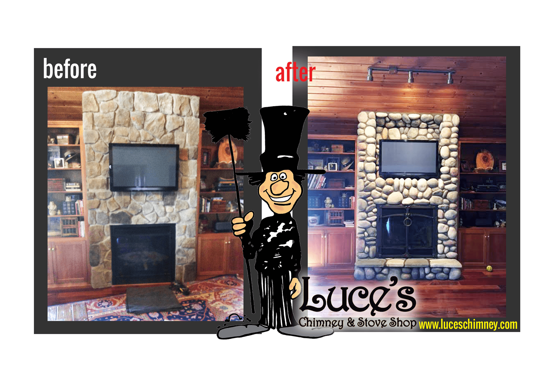 Custom stone fireplace remodeling by Luce's Chimney & Stove Shop.