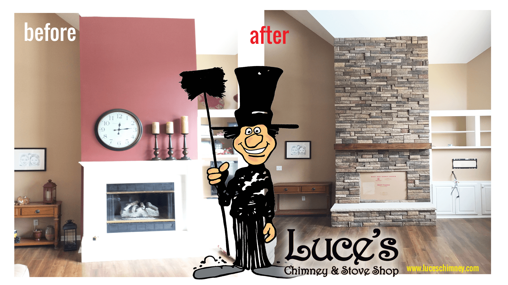 Before after photographs of fireplace updates by Luce's Chimney and Stove Stop Toledo Oh