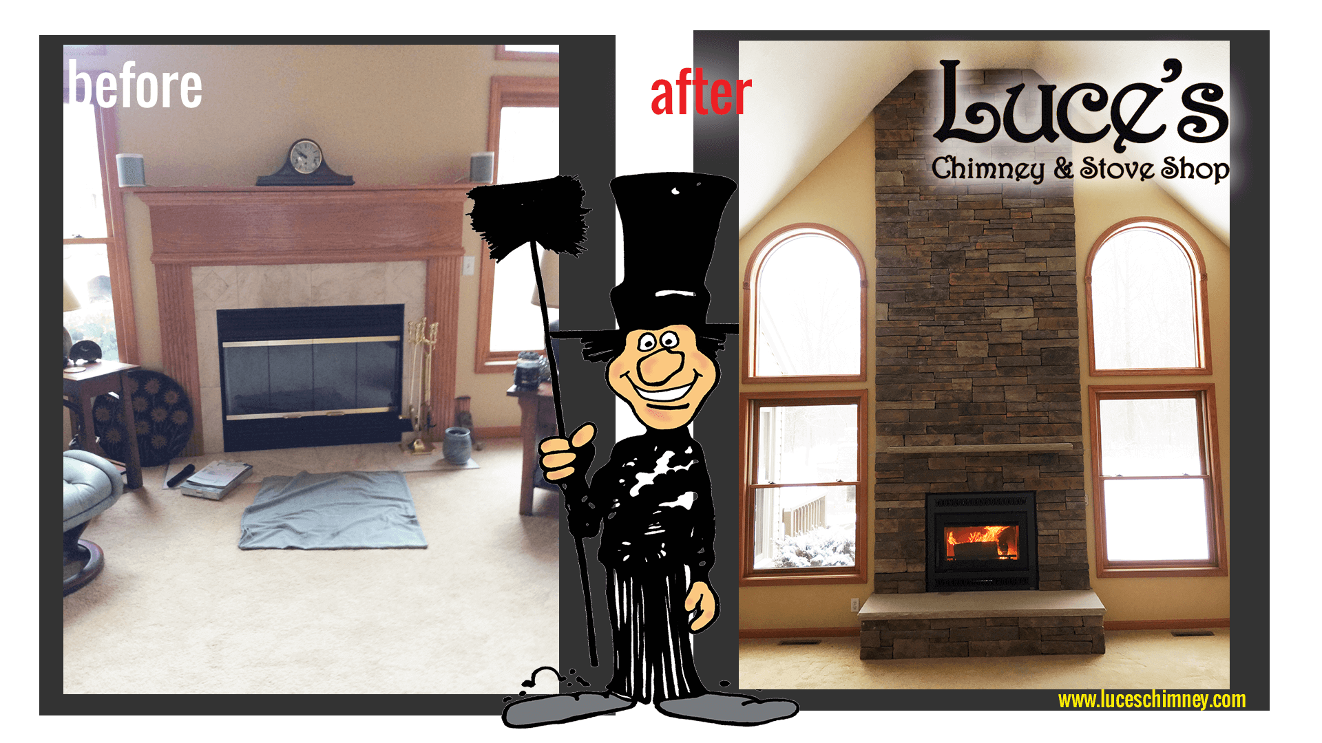 Update of old brick fireplace into modern fireplace by Luce's Chimney and Stove Shop Toledo OH