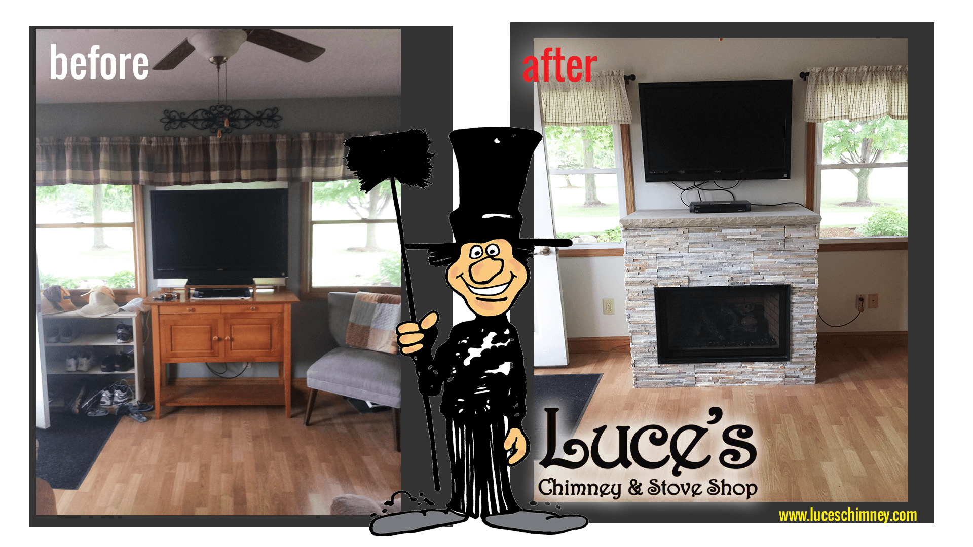 New fireplace construction. Fireplace design by Luce's Chimney and Stove Shop, serving Ohio, Michigan and Indiana.