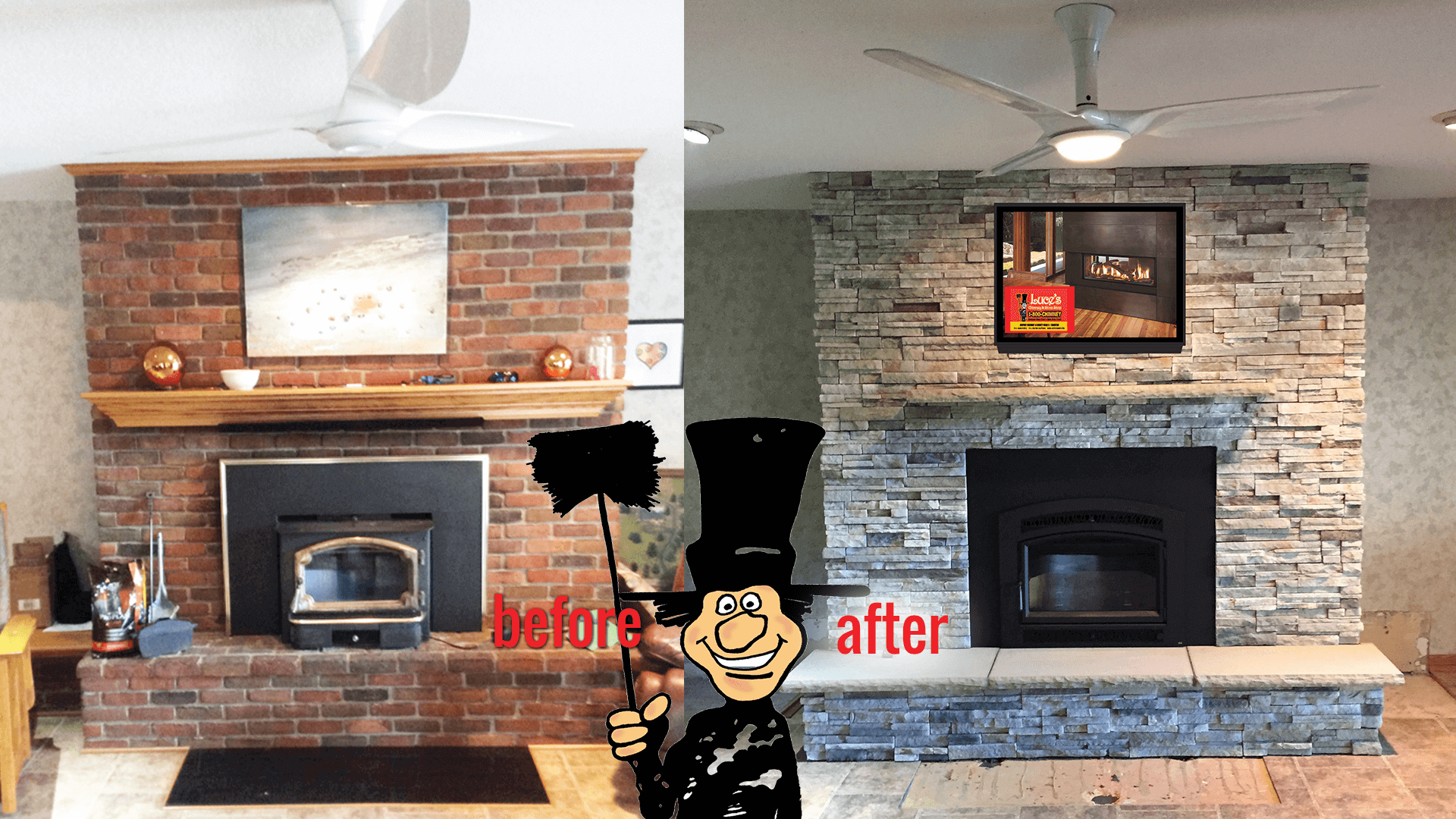 Update fireplace, before and after fireplace stonework fireplace remodeling by Luce's Chimney and Stove Shop