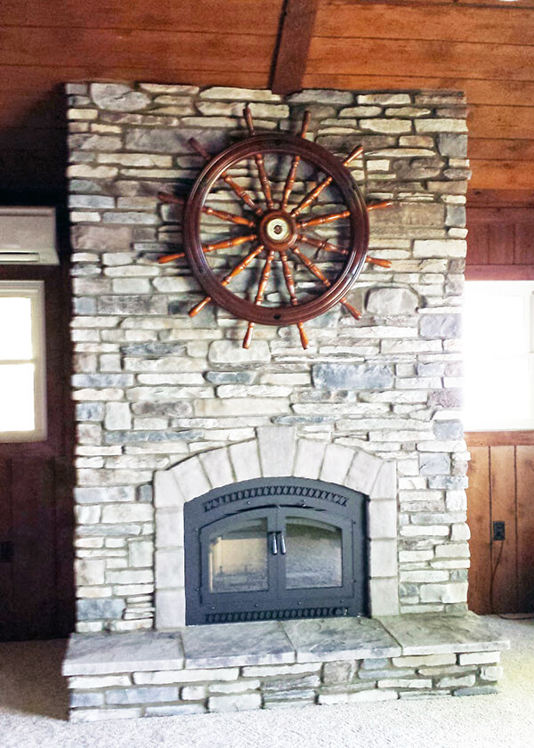 Gorgeous stone fireplace built by Luce's Chimney & Stove Shop, serving Ohio, Michigan and Indiana.