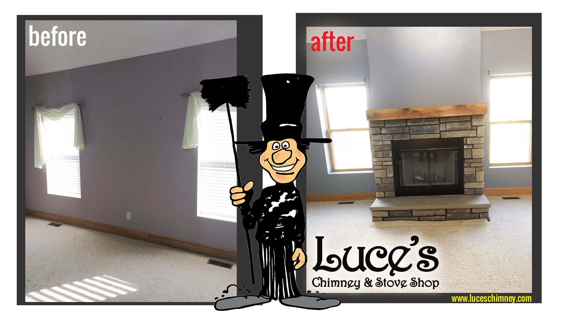 Fireplace design and installation. Stone fireplace design by Luce's Chimney and Stove Shop, serving Ohio, Michigan and Indiana.