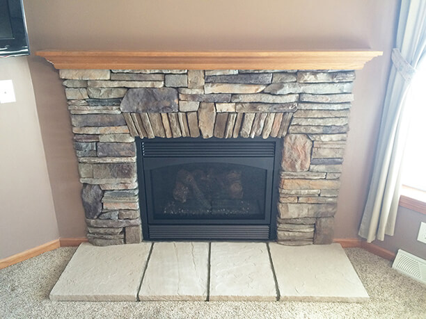 Small Fireplace Remodel With Custom Stonework From Luce S Chimney Stove