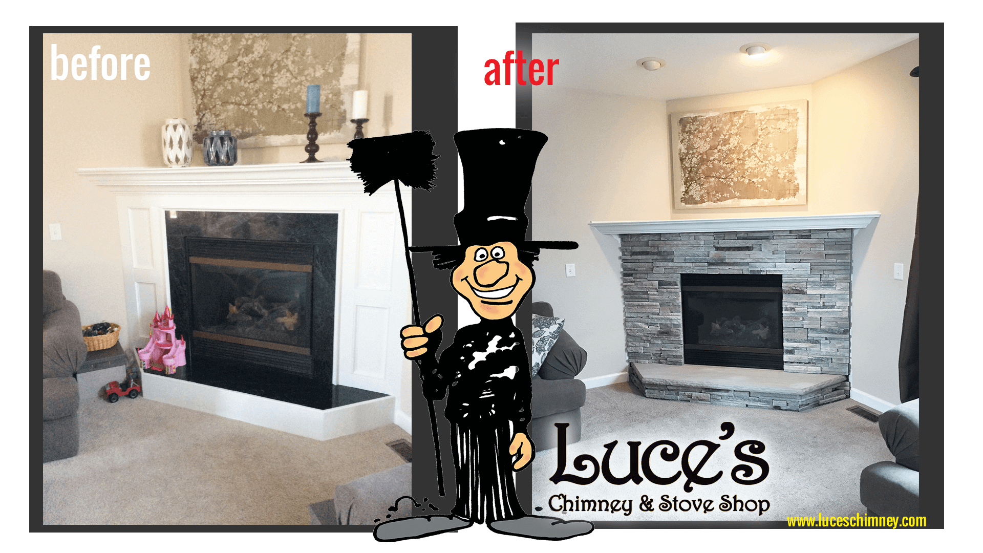 Modern fireplace rock fireplace design by Luce's Chimney and Stove Shop Toledo OH