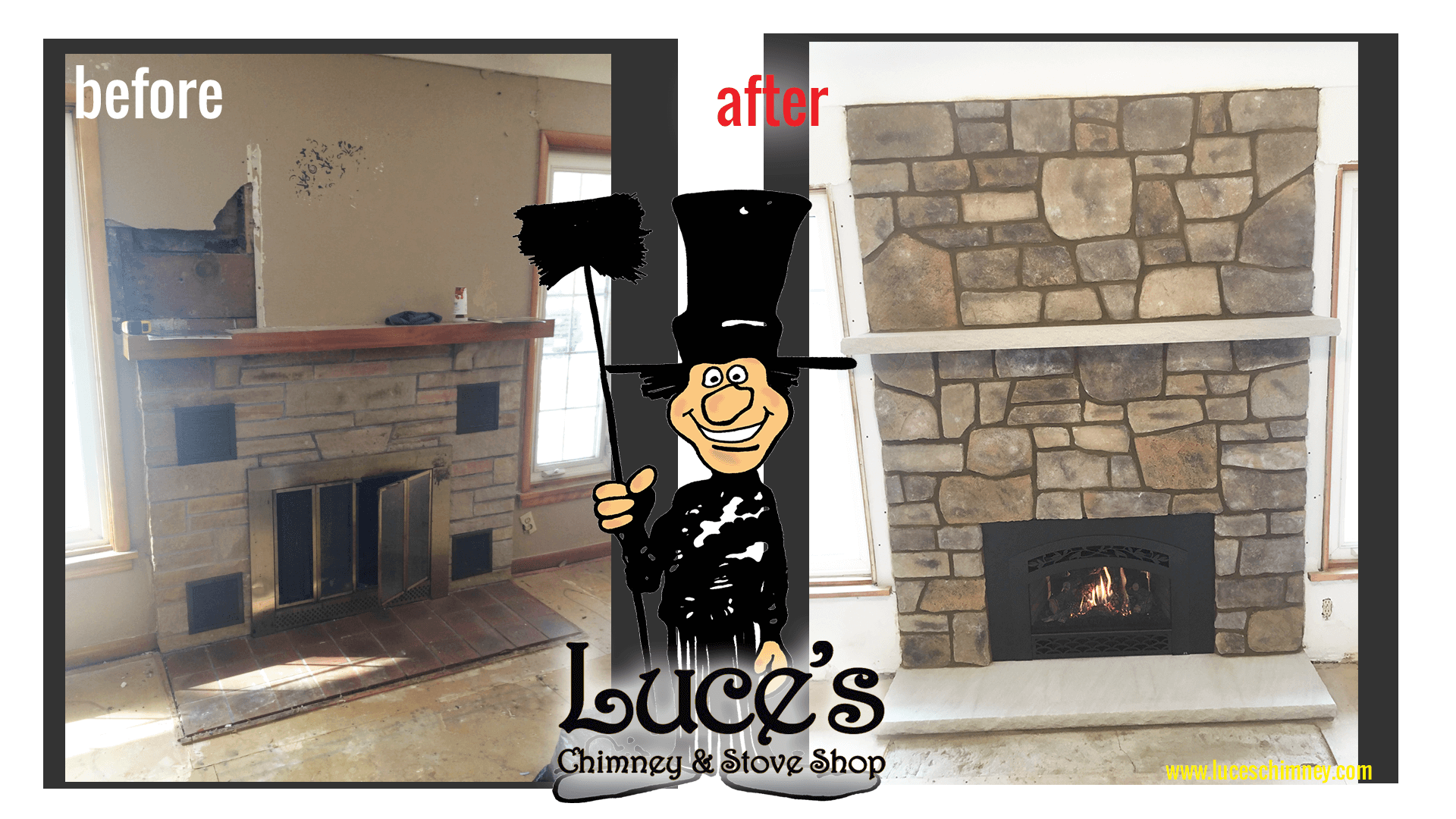Old fireplace updated in a modern fireplace design stonework. Fireplace design by Luce's Chimney and Stove Shop, serving Ohio, Michigan and Indiana.