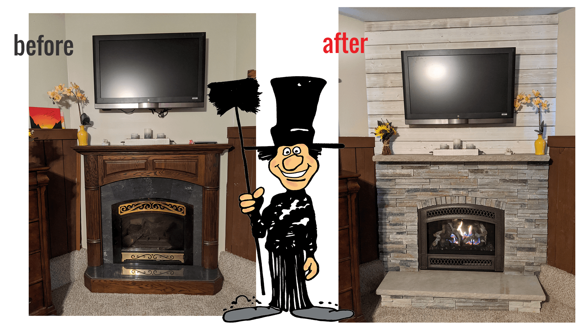 Fireplace Update Before Afters Luce S Chimney Amp Stove Shop
