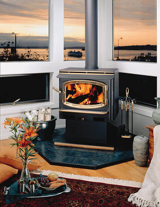 Avalon freestanding traditional wood burning stove, available at Luce's Chimney & Stove Shop, serving areas of Ohio, Michigan and Indiana.